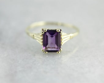 Amethyst and Green Gold Ring, Amethyst Solitaire, February Birthstone 00ANA4-D