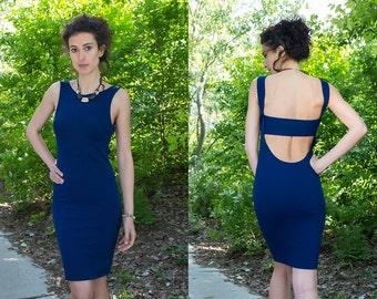 Midi Dress / Cut Out Back Dress / Womens Dresses / Elegant Dress / Bodicon Dress / Straight Line Dress / Knee Length Dress / Open Back Dress