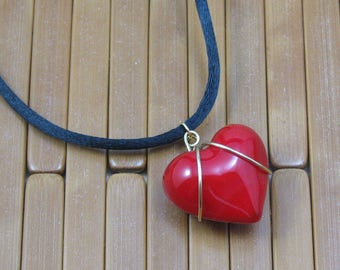 Red Heart Necklace on Black Satin Cord, Wire Wrapped Red Glass Heart, Red Heart Pendant, Glass Heart Pendant on 26 inch Cord, Gift for Her