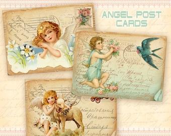 Vintage angels Greeting cards on Digital collage sheet Printable download Digital cards