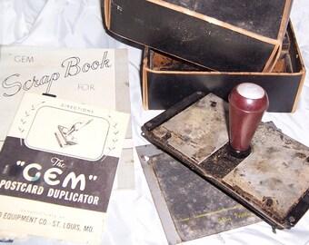 Gem Duplicator Kit for making Postcards using mimeograph stencils