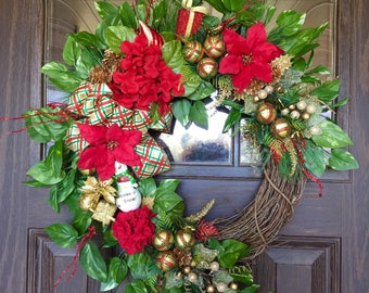 Etsy Red and Gold Front Door Wreath   Christmas Wreath   Grapevine Wreath   Christmas Decorations   Door Wreaths   Wreaths on Etsy   Etsy Wr