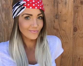 Dots + Stripes Turban Headband || Hair Band Navy Blue Red White Accessory Cotton New England football Knit Workout Yoga Fashion Head Girl