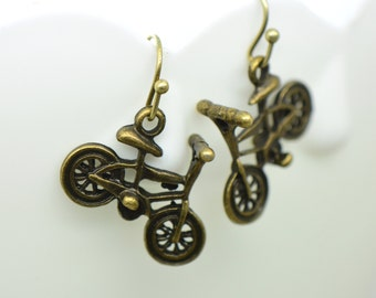Bicycle Earrings, Antique Bronze Finish, Vintage Style Charm Pendant Earring, Bike Jewelry (BA147)