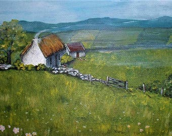 Ireland Irish Landscape Cottage Home Print Painting