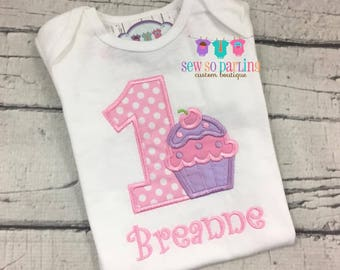 1st Birthday Girl Cupcake Outfit - pink and purple Cupcake Birthday Outfit - Cupcake Birthday Shirt- 1st Birthday Outfit - first birthday