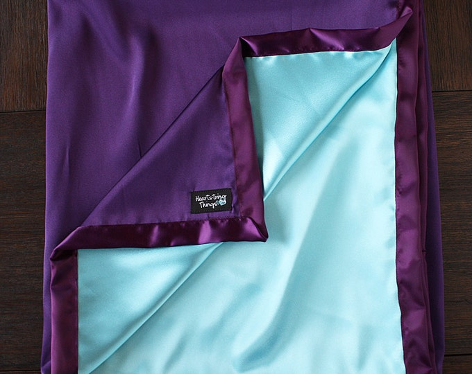 Satin blanket, Silk blanket, Purple blanket, purple and aqua, Baby Girl, Soft Blanket, silk woobie, Blanket for girl, sofia, lovie