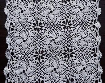 Square crochet white doily