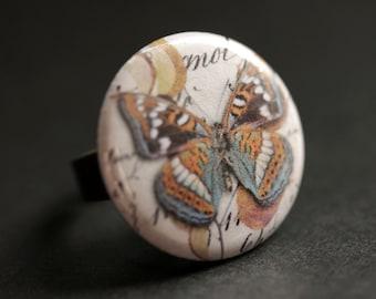 Butterfly Ring. Moth Ring. Nature Ring. Entomology Ring. Boho Ring. Bronze Ring. Adjustable Ring. Handmade Ring. Handmade Jewelry.