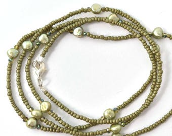 Olive Green Freshwater Pearl Seed Bead Single Strand Beaded Necklace