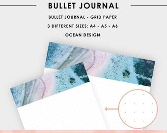 Printable Bullet Journal Grid Paper with a Ocean Header