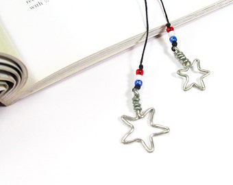 Star Bookmark, Patriotic Red White and Blue Bookmark, Memorial Day Star Bookthong, Gifts For Women