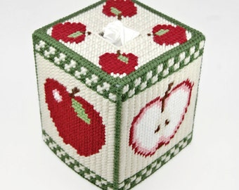 PATTERN: Country Apples Tissue Box Cover Pattern in Plastic Canvas