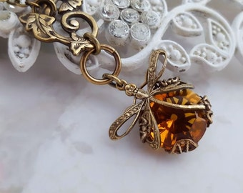 Citrine dragonfly necklace, Art Nouveau lariat necklace, Honey Amber dragonfly jewelry, filigree jewelry bug pendant y necklace
