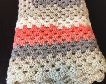 Neutral Tone Baby Girl Blanket, Hand Made