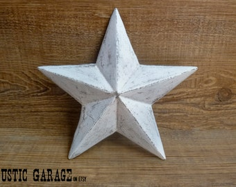 "WHITE - Handpainted Distressed Cast Iron Texas Star Wall Hanging - 7.5"" Metal Star Wall Decor - Patriotic Nautical Rustic Country Home Decor"