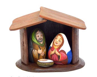 Christmas Nativity Scene set - Hand painted stones.