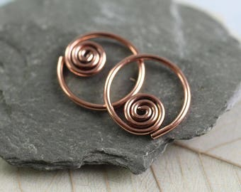 Copper Sleeper Hoops | Copper Earrings with Celtic Spiral Detail | Spiral Earrings | Spiral Hoops | Copper Hoop