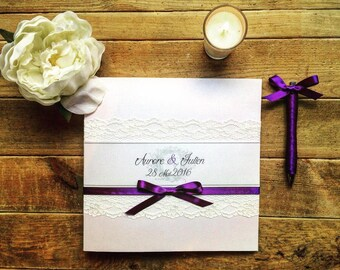 Wedding guestbook lace chic personalized Feeline creation guestbook