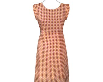 Dress with white, yellow, pink and Brown geometric patterns