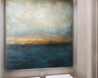 Canvas Painting, Abstract sea, Marine Art, Large acrylic Art, Original Art, Large Abstract Art, Living Room Art, Large Canvas Art