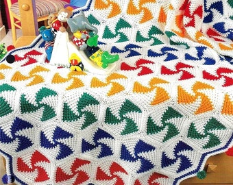 INSTANT DOWNLOAD PDF Vintage Crochet Pattern for Pinwheel Afghan Throw Blanket