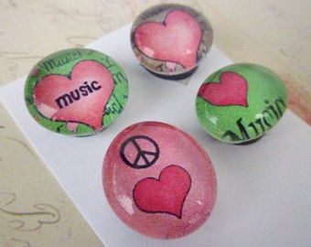 Round Glass Magnet Set - Music Love
