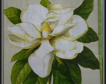 White magnolia flower napkin