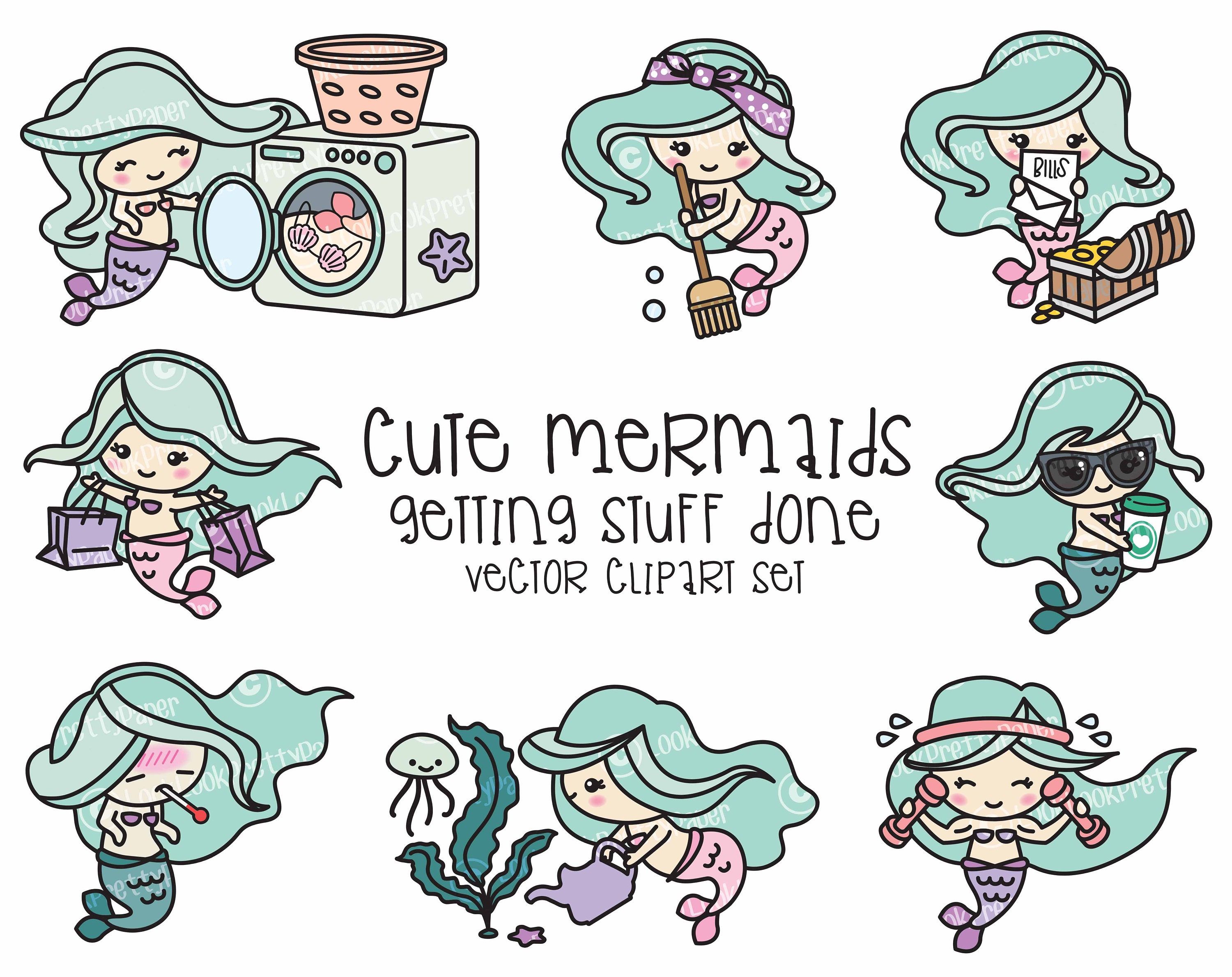 Premium vector clipart kawaii mermaid cute mermaids zoom voltagebd Gallery