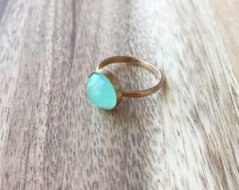 Aqua Chalcedony Rose Cut Gold 10 mm Ring, Seafoam Green Ring, Aqua Gold Ring