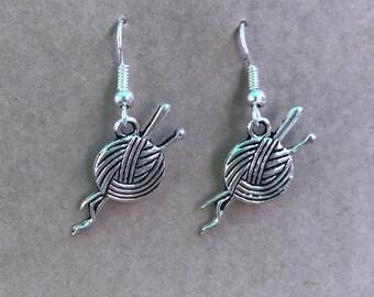 Knitting Needle Earrings - Yarn earrings - wool earrings - knitting needles - gifts for her - gift for crafter - gift for knitter - xmas
