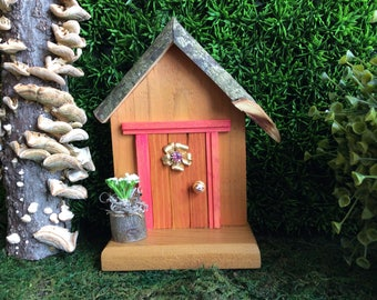 Coral Fairy Door with Vintage Bling Window
