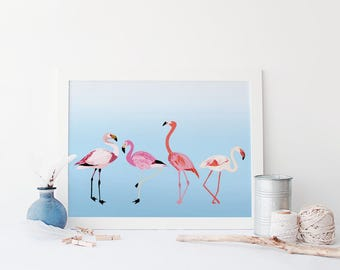 Flamingo Print, Quirky Colourful Flamingos, Illustrated Flamingo Poster, Pretty Wall Art, Nursery Print, Flamingo Love, Flamingo Gifts