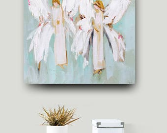 Angel Print on paper or canvas angels art abstract pink coral