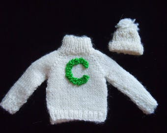 Dollhouse Miniature Cheerleader Sweater ~ Varsity Letter Sweater ~ Hat ~ Miniature Clothing ~ Miniature ~ Dollhouse ~ Accessories