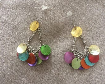 pierced with multicolored sequins earrings