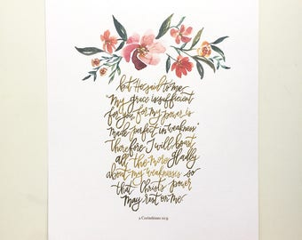 2 Corinthians 12:9 Hand Lettered and Watercolor Art Print