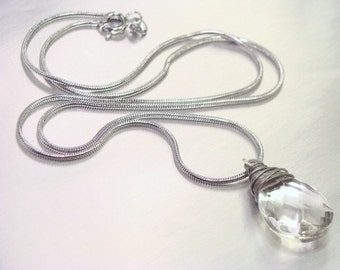 Elegant Clear Faceted Glass Necklace, 18KGP Snake Chain
