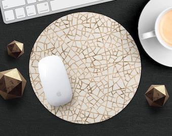 Gold Geometric MousePad Stipes MouseMat Printed MousePad Ornament MousePad Beige MouseMat Accessories Desk Geometry MousePad Office MouseMat