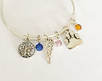 custom made design your own adjustable bangle / Stackable Bangles / Choose Your Own Charms / Silver Bracelets