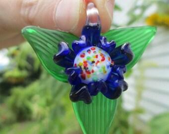 FLOWER GLASS Art Pendant Jumbo Lampwork Cobalt Blue Flower