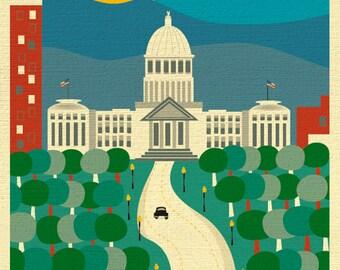 Boise Idaho Skyline Print, Boise Wall Art, Vertical Boise Artwork, Boise Idaho Gift for Office, Nursery Room, Loose Petals - style E8-O-BOI