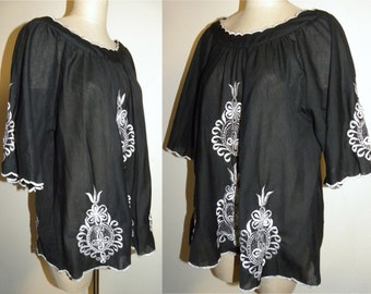 1970s 70s Shirt / Black / Smock top / Tita Lucci / embroidered / peasant blouse / Bohemian / Gypsy / Vintage / XL