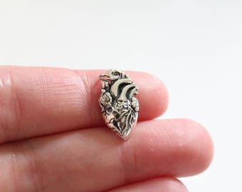 Sterling Silver Anatomical Heart Charm, Realistic Heart Charm,  Nursing Student Pendant, Gift for Doctor, Realistic Heart Pendant