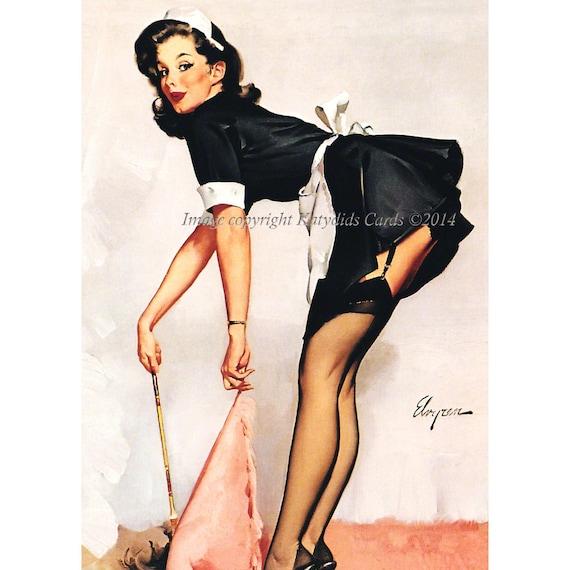 Pinup girl fabric block french maid risque costume gil elvgren solutioingenieria Gallery