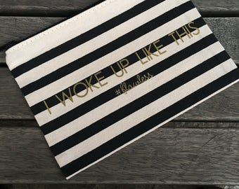 Gold # Flawless Striped Make Up Bag, Cosmetic Pouch