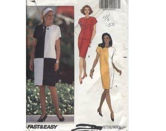 Color Block Tapered Dress Pattern - Butterick 5434 - Size 12 14 16 - Kimono Cap Sleeve - Back Zipper - Vintage