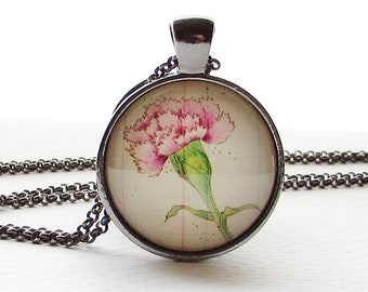 Carnation - January Birth Month Flower - Flower Necklace Pendant - Birthday Gift - Pink Flower Necklace - Mothers Day Gift - Gift for Her