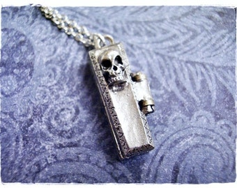 Silver Skull Coffin Necklace - Antique Pewter Skull Coffin Charm on a Delicate Silver Plated Cable Chain or Charm Only