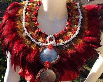 Tahitian & Cook Islands, Rarotongan Feather Neck Piece Or Necklace. Perfect For Both Male And Female Dancers Or For Decorations, Gifts, Luau